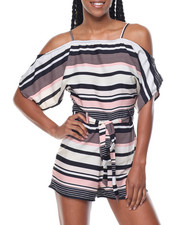 Jumpsuits - Stripe Cold Shoulder Self Belt Romper