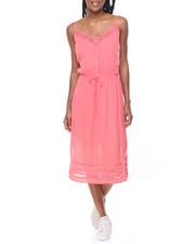 Dresses - Lace Inserts Gauze Midi Dress
