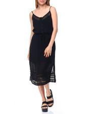 Fashion Lab - Lace Inserts Gauze Midi Dress