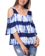 Tops - Tie Dye 3/4 Sleeve Cold Shoulder Top