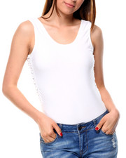 Women - Form Rib Scoop Front W/Lace Up Sides Bodysuit