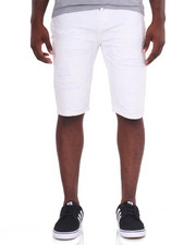 Men - Monochrome Rip - And - Repair Denim Shorts