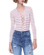 Bodysuits - Long Sleeve Bodysuit W/Front Lace