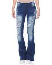 Jeans - Destructed Sandblasted Flared Leg Skinny Jean