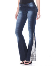 Jeans - Sandblasted Sequin Flared Inserts Stretch Jean