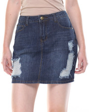 Skirts - Destructed Denim Mini Skirt