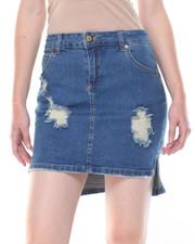 Women - Hi-Low Heavy Destruction Denim Skirt