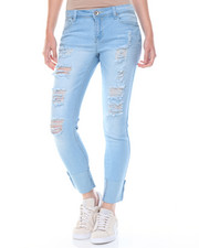 Jeans - Destructed Cuffed Stretch Skinny Jean