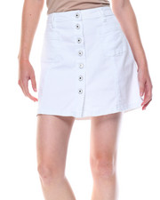 Skirts - Button Front Stretch A-line Denim Skirt