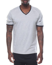 Men - Round - Bottom Contrast - Layer S/S V - Neck Tee
