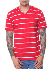 Men - Basic Pinstripe V - Neck S/S Tee