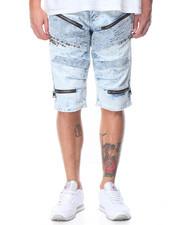 Men - Zipper Biker Denim Short