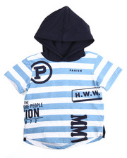 T-Shirts - P-NATION STRIPED HOODED TEE (2T-4T)