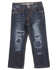 Jeans - RIP & REPAIR JEANS W/ FAUX LEATHER UNDERLAY (4-7)