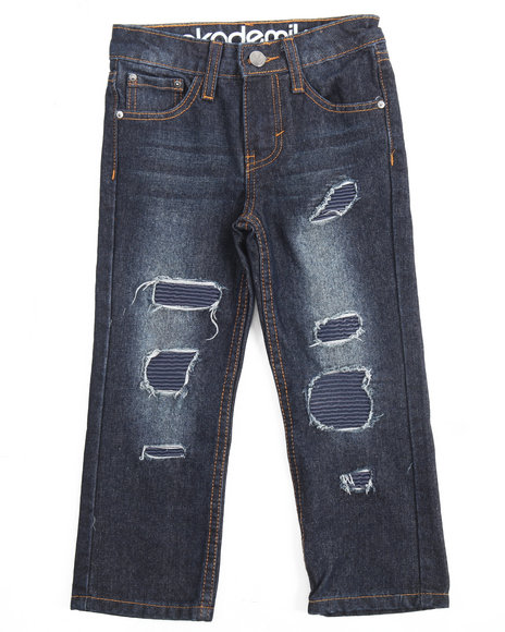 RIP & REPAIR JEANS W/ FAUX LEATHER UNDERLAY (4-7) by Akademiks