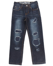Akademiks - RIP & REPAIR JEANS W/ FAUX LEATHER UNDERLAY (8-20)