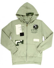 Hoodies - PEACE OUT FULL ZIP HOODY W/ PATCHES (8-20)
