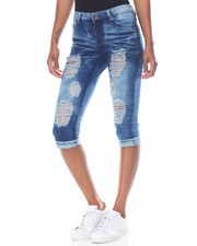Jeans - Acid Wash Destructed Denim Capri Skinny Jean