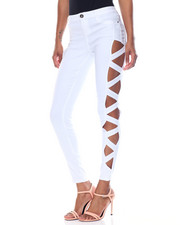 Basic Essentials - Super Stretch Lattice Side Cut Outs Skinny Pant