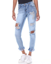 Basic Essentials - Destructed Fringe Hem Stretch Skinny Jean