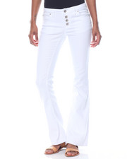 Jeans - White Flare Button Jean W/Braid Pocket