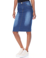 Skirts - Sandblasted Denim Pencil Skirt