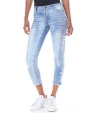 Jeans - Destructed Side Seam Fringe Ankle Skinny Jean