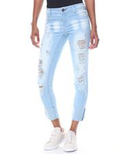 Women - Snow Wash Light Blasting Roll Cuff Skinny Jean