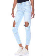 Jeans - Blow Out Knee Dog Bite Hem Skinny Jean