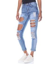 Women - Rips  & Tears Roll Cuff Skinny Jean