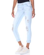 Women - Powder Wash Destructed Roll Cuff Skinny Jean