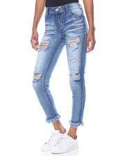 Jeans - Whiskers Destructed Frayed Hem Skinny Jean