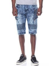 Basic Essentials - Stretch Zipper Moto Denim Shorts