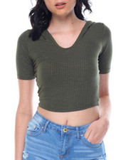 Fashion Lab - Ribbed Knit Crop Hoodie