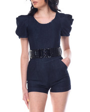 Boom Boom Jeans - Dramatic Sleeve Belted Jean Romper