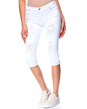 Jeans - Destructed Denim Capri Skinny Jean