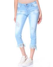 Fashion Lab - Heavy Blast Fringe Destructed Hem Skinny Jean