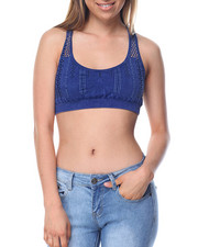 summer-womens - Distressed Denim Way Seamless Mesh Bralette