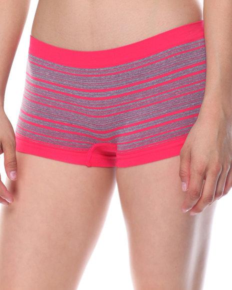 DRJ Lingerie Shoppe - Stripe/Floral/Fishnet Sides Seamless 3Pk Shorts