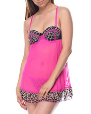 Sets - Animal Print/ Mesh Babydoll Set