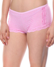 Sets - Heathered Cotton Lace Trim 3Pk Shorts