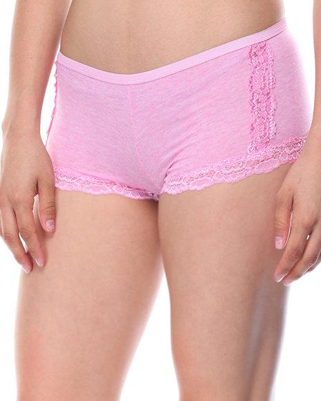 DRJ Lingerie Shoppe - Heathered Cotton Lace Trim 3Pk Shorts