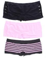 DRJ Lingerie Shoppe - Hottie Cut Out/Stripe/Solid  3Pk Seamless Shorts (Plus)