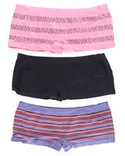 DRJ Lingerie Shoppe - Animal/Stripe/Solid  3Pk Seamless Shorts (Plus)