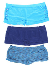 Plus Size - Space Dye/Hottie Cut Out/Solid  3Pk Seamless Shorts (Plus)