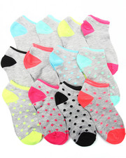 Accessories - Dot/Solid 12Pk Neon No Show Socks