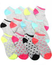 Girls - Dot/Solid 12Pk Neon No Show Socks