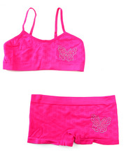 DRJ Underwear Shop - Teen Rhinestone/Butterfly Seamless Bra Short/Set