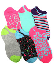 Accessories - Animal Mix Hot Brights 6Pk Low Cut Socks