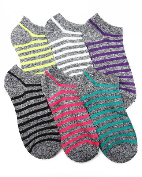DRJ SOCK SHOP - Marled Neon Geo Print 6Pk Low Cut Socks